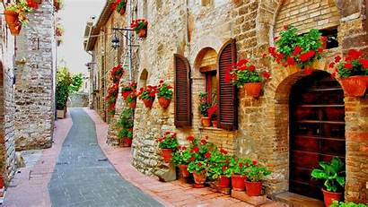 Italy Italian Background Wallpapers Street Assisi Streets