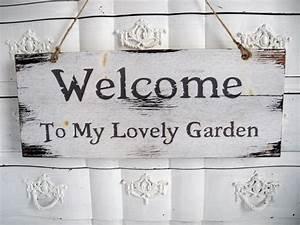 Sprüche Auf Holz : welcome garden schriftzug shabby holz garten holzschild schild schrift t rschild schilder ~ Orissabook.com Haus und Dekorationen