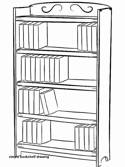 Bookcase Drawing Bookshelf Draw Coloring Pages Shelf