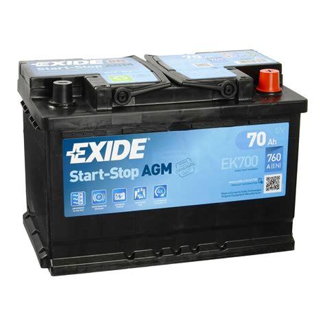 autobatterie start stop exide ek700 agm autobatterie 12v 70ah en760a start stop