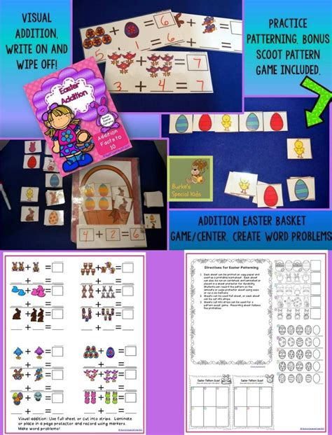 easter addition math centers facts    images