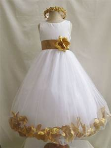 Flower Girl Dress IVORY w/ Gold PETAL Wedding Children ...