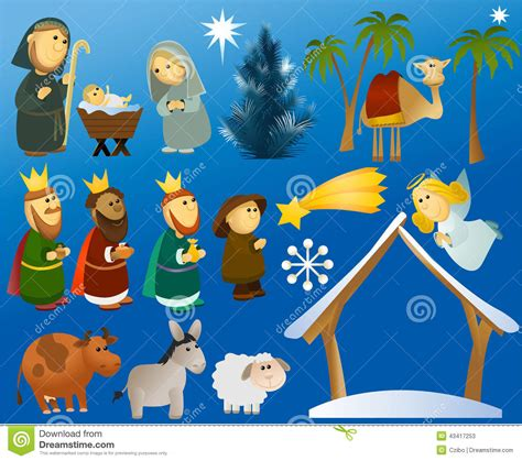 set  christmas scene elements stock vector image
