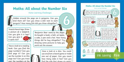 * New * Eyfs Maths All About Number Six Home Learning
