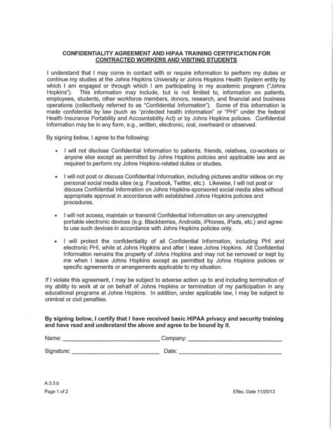 hipaa confidentiality agreement examples  word