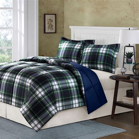navy and brown bedding classic cozy blue navy green grey brown cabin plaid stripe soft comforter set ebay