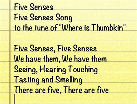 five senses song from http lochelskindergarten 5 | 6087ef7936fe2aa7878d46bd993f88b0