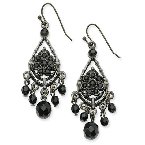black plated faceted jet black chandelier earrings