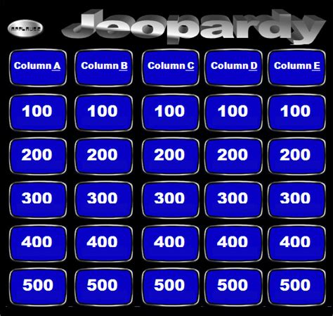 sample blank jeopardy templates   sample