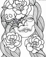 Girly Coloring Pages Printable Skull Sugar Graffiti Pdf Adult Pour Multicultural Getdrawings Coloriages Adultes Dessin Halloween Getcolorings Skulls Adults Colorings sketch template