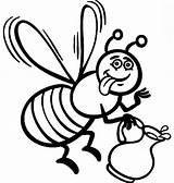 Bee Coloring Honey Cartoon Pages Bees Queen Printable Coloringsky Getcolorings Pollen Delicious sketch template