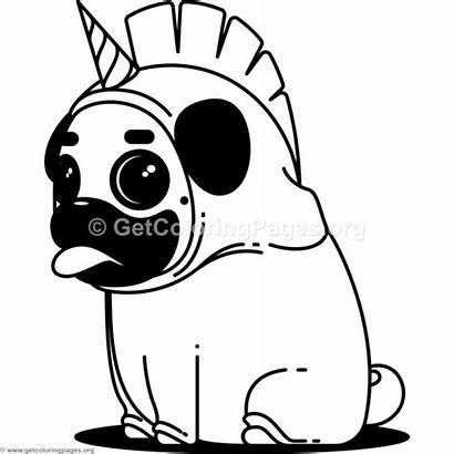 Pug Unicorn Coloring Pages Printable Animal Pugs