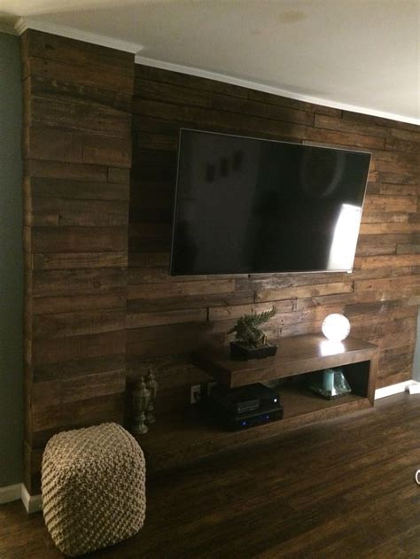 espresso stained pallet wall  floating tv console diy