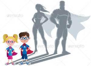 Kid Superhero Silhouette Clip Art