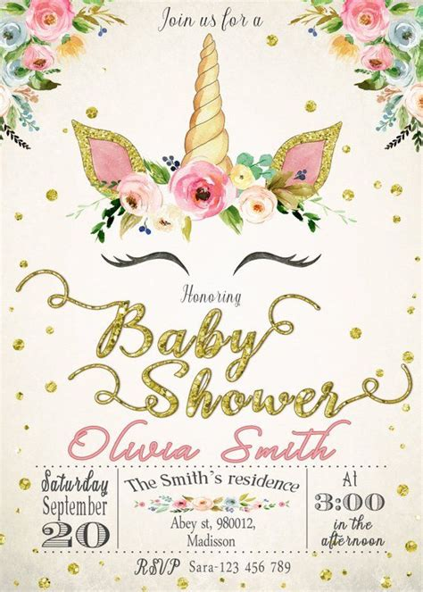 Unicorn Baby Shower Invitation for Girl Printable or