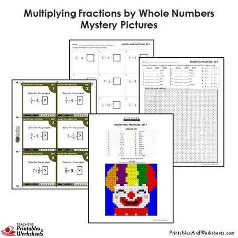 4th Grade Multiplying Fractions By Whole Numbers Coloring Worksheets  Printables & Worksheets