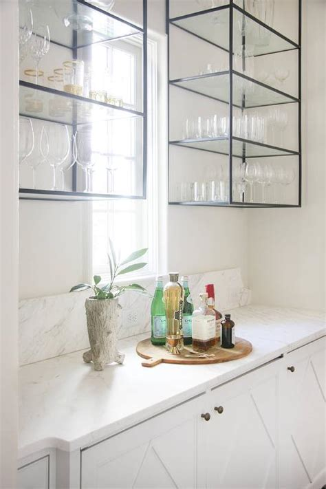 butlers pantry  wall mount iron  glass shelving