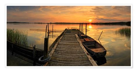 wooden pier  fishing boat posters  prints