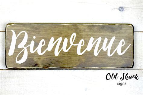 Bienvenue - wood sign, hand painted, welcome french sign ...