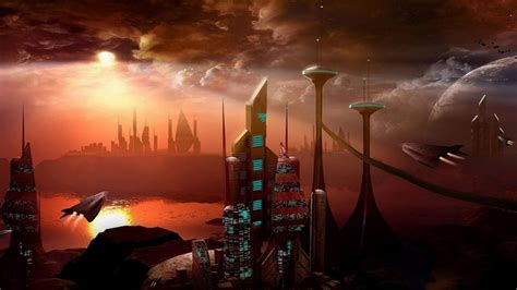 space ships futuristic city desktop pc  mac