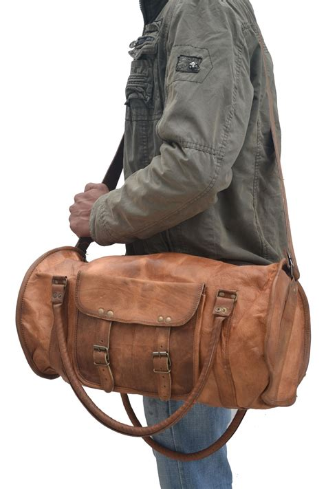distressed   leather overnight bag weekend travel bag duffle bag holidaly cabin bag gym