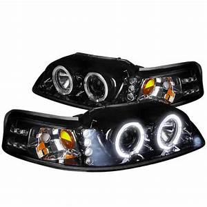 Spec-D Tuning 1999-2004 Ford Mustang Led Halo Pro Headlights 1999 2000 2001 2002 2003 2004 (Left ...