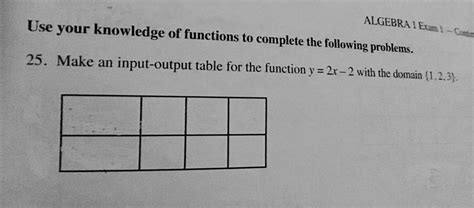 Make An Input-output Table For The Function Y = 2x