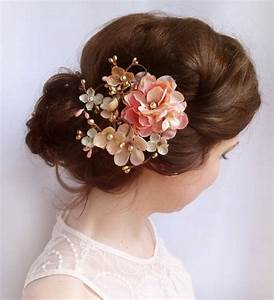 Pink Floral Hair Comb Bridal Hair Accessories By