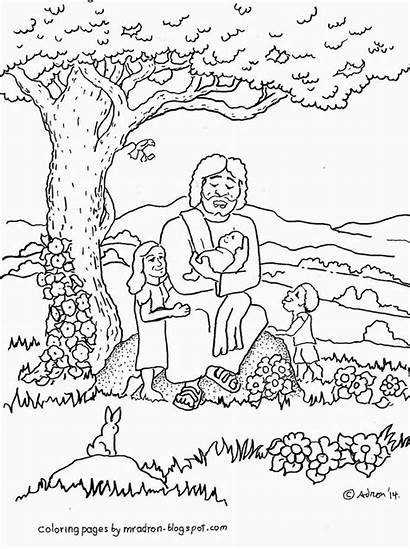 Coloring Jesus Children Sunday Pages Blesses Mark