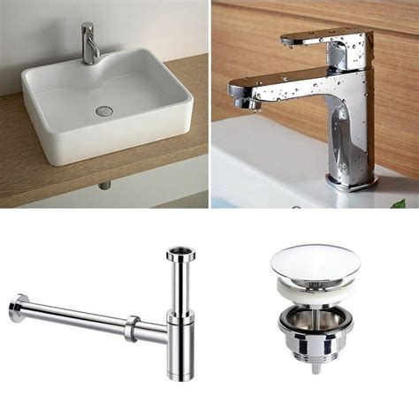 pack vasque 224 poser 49 cm robinet lavabo siphon bonde