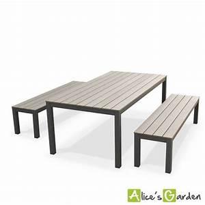 Table En Bois Avec Banc : table jardin avec banc meuble en osier maison email ~ Teatrodelosmanantiales.com Idées de Décoration