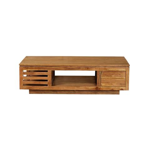 canapé colonial table basse bois acacia guntur 3 niches 4278
