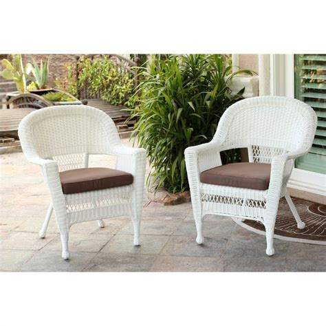 jeco wicker chair in white with brown cushion set of 2
