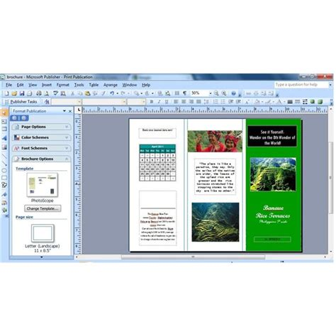 Publisher 2003 In Pictures Create A Brochure From A Template How To Insert A Calendar In Microsoft Publisher Brochure