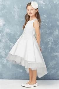 Tip Chart Tip Top Kids 5760 White Satin High Low Dress W 3d Floral