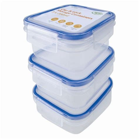 plastic storage containers for kitchen 3 pack clip lock airtight kitchen food baby storage 7506