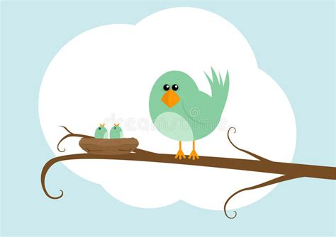 Cartoon Bird With Nest Stock Illustration. Illustration Of