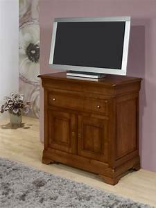 meuble tv 2 portes en merisier massif de style louis With meuble louis philippe