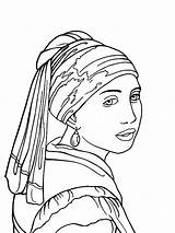 Coloring Pearl Earring Earrings Famous Paintings Pages Colouring Adult Artists Vermeer Jewelry Precious Books Rings Diamond Designlooter Artist Artwork Portraits sketch template