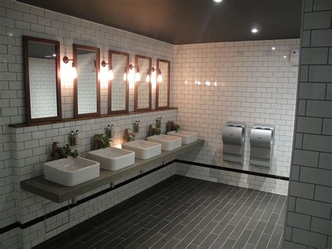 cool industrial toilet design  stylish subway tiles