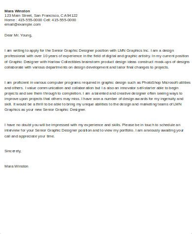 sample graphic designer cover letter  examples  word