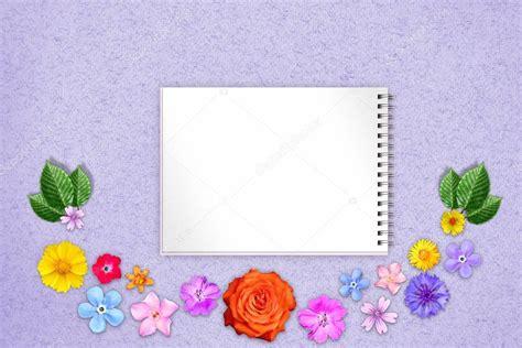 beautiful decoration flowers frame copybook center blue