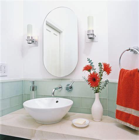 sea glass tile Bathroom Contemporary with accent wall aqua