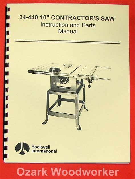 rockwell table saw manual rockwell 34 440 10 quot contractor 39 s saw parts manual 0603 ebay
