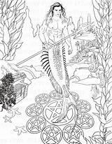 Coloring Merman Adult Fantasy Digi Sheets Printable Pdf Mermaid Pentacle Stamp Colouring Drawings Instant Explore Stamps Mermen Popular Mermaids Created sketch template