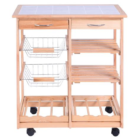 wooden kitchen storage trolley equipment kitchen trolley cart dining storage drawers 1647