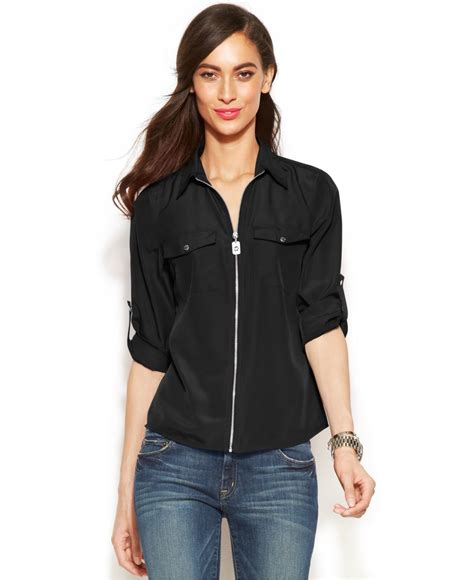 michael kors blouse michael kors michael roll tab sleeve zip front blouse in
