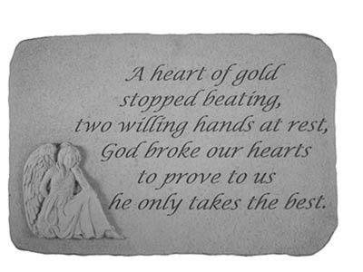 memorial stone  heart  gold dad memorial stones