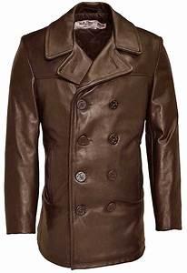 schott leather pea coat men39s leather pea coat With brown pea coat mens