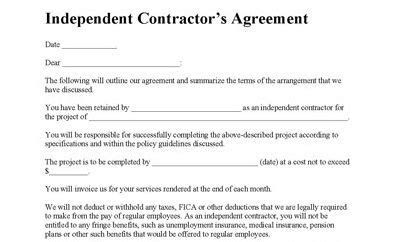 Staging Contract Template Free Independent Independent Contractor Agreement Contractor Agreement
